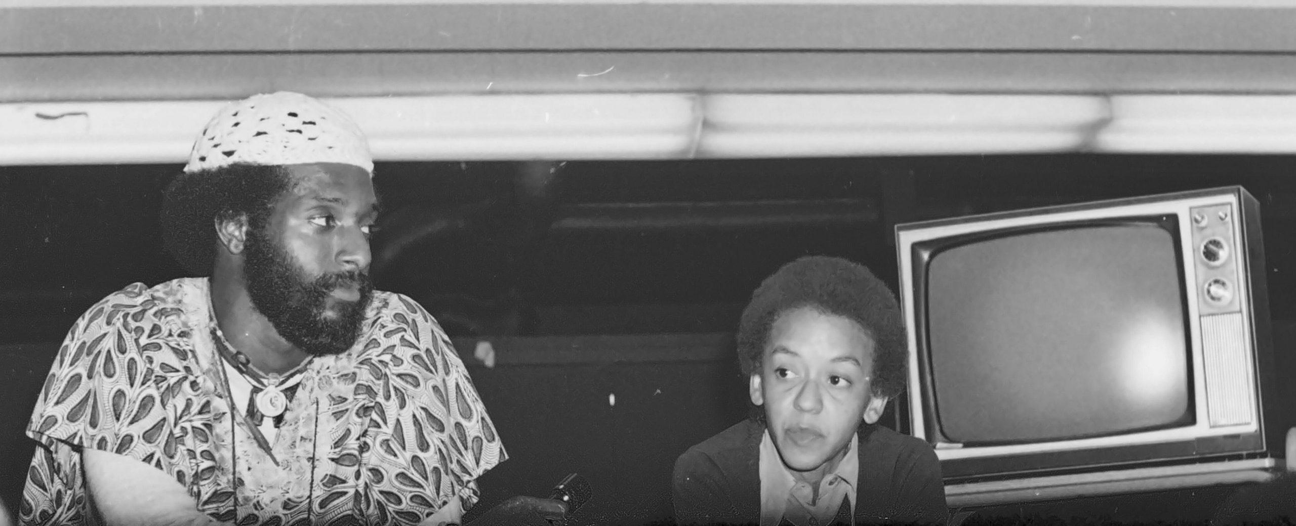 Mwatabu Okantah with Nikki Giovani at old Ritchie, 1975